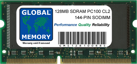 128MB SDRAM PC100 100MHz 144-PIN SODIMM MEMORY RAM FOR LAPTOPS/NOTEBOOKS
