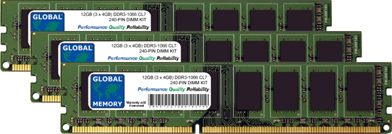 12GB (3 x 4GB) DDR3 1066MHz PC3-8500 240-PIN DIMM MEMORY RAM KIT FOR PACKARD BELL DESKTOPS