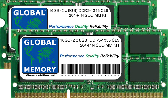 16GB (2 x 8GB) DDR3 1333MHz PC3-10600 204-PIN SODIMM MEMORY RAM KIT FOR LAPTOPS/NOTEBOOKS