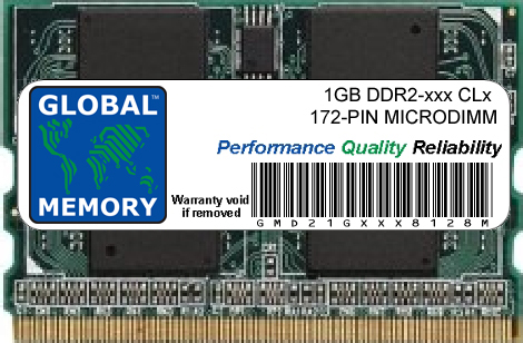 1GB DDR2 400/533MHz 172-PIN MICRODIMM MEMORY RAM FOR LAPTOPS/NOTEBOOKS