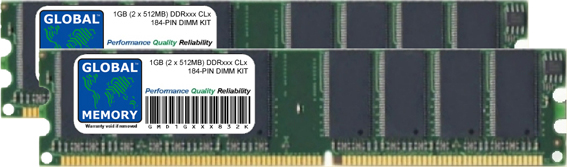 1GB (2 x 512MB) DDR 266/333/400MHz 184-PIN DIMM MEMORY RAM KIT FOR PC DESKTOPS/MOTHERBOARDS