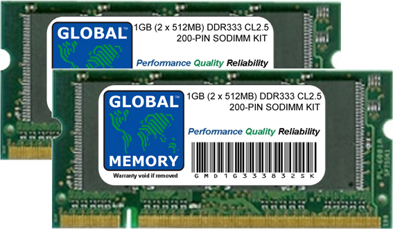 1GB (2 x 512MB) DDR 333MHz PC2700 200-PIN SODIMM MEMORY RAM KIT FOR DELL LAPTOPS/NOTEBOOKS