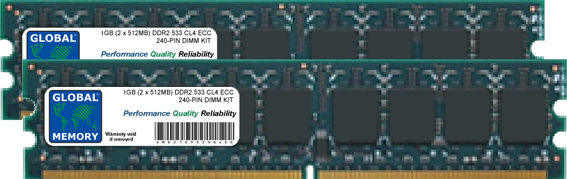 1GB (2 x 512MB) DDR2 533MHz PC2-4200 240-PIN ECC DIMM (UDIMM) MEMORY RAM KIT FOR SERVERS/WORKSTATIONS/MOTHERBOARDS