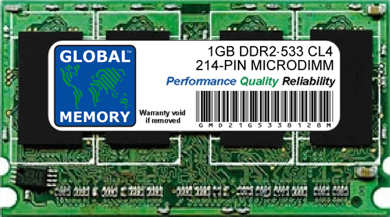 1GB DDR2 533MHz PC2-4200 214-PIN MICRODIMM MEMORY RAM FOR LAPTOPS/NOTEBOOKS