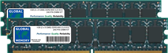 1GB (2 x 512MB) DDR2 800MHz PC2-6400 240-PIN ECC DIMM (UDIMM) MEMORY RAM KIT FOR SERVERS/WORKSTATIONS/MOTHERBOARDS