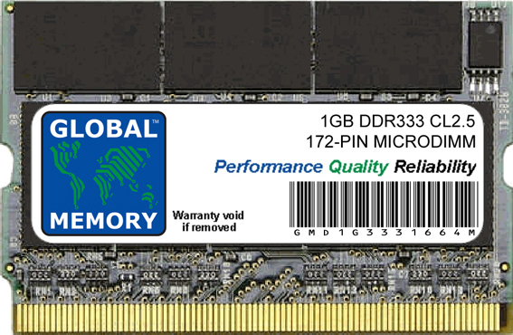 1GB DDR 333MHz PC2700 172-PIN MICRODIMM MEMORY RAM FOR LAPTOPS/NOTEBOOKS