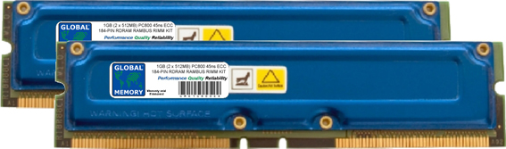 1GB (2 x 512MB) RAMBUS PC800 184-PIN ECC RDRAM RIMM MEMORY RAM KIT FOR WORKSTATIONS/MOTHERBOARDS