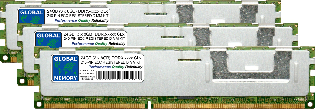24GB (3 x 8GB) DDR3 1066/1333MHz 240-PIN ECC REGISTERED DIMM (RDIMM) MEMORY RAM KIT FOR ACER SERVERS/WORKSTATIONS (12 RANK KIT NON-CHIPKILL)