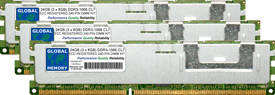 24GB (3 x 8GB) DDR3 1066MHz PC3-8500 240-PIN ECC REGISTERED DIMM (RDIMM) MEMORY RAM KIT FOR FUJITSU-SIEMENS SERVERS/WORKSTATIONS (6 RANK KIT CHIPKILL)