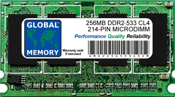 256MB DDR2 533MHz PC2-4200 214-PIN MICRODIMM MEMORY RAM FOR LAPTOPS/NOTEBOOKS