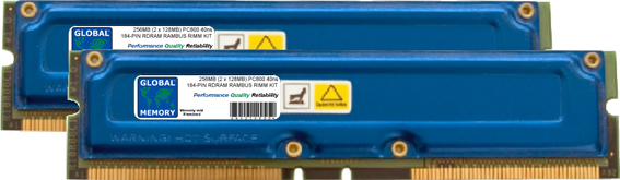 256MB (2 x 128MB) RAMBUS PC800 184-PIN RDRAM RIMM MEMORY RAM KIT FOR SONY DESKTOPS