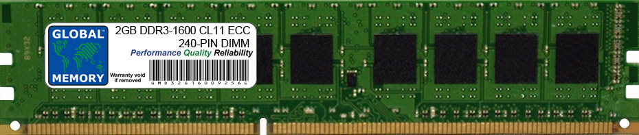2GB DDR3 1600MHz PC3-12800 240-PIN ECC DIMM (UDIMM) MEMORY RAM FOR SERVERS/WORKSTATIONS/MOTHERBOARDS