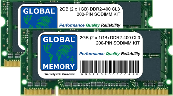 2GB (2 x 1GB) DDR2 400MHz PC2-3200 200-PIN SODIMM MEMORY RAM KIT FOR DELL LAPTOPS/NOTEBOOKS