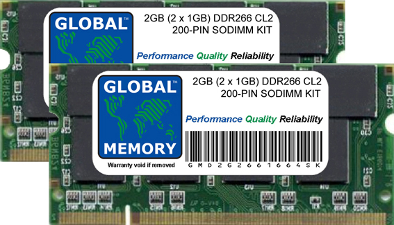 2GB (2 x 1GB) DDR 266MHz PC2100 200-PIN SODIMM MEMORY RAM KIT FOR LAPTOPS/NOTEBOOKS