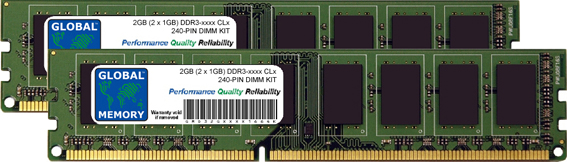 2GB (2 x 1GB) DDR3 1066/1333MHz 240-PIN DIMM MEMORY RAM KIT FOR PC DESKTOPS/MOTHERBOARDS