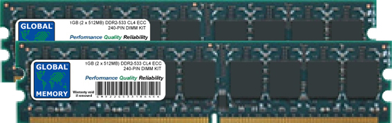 2GB (2 x 1GB) DDR2 533MHz PC2-4200 240-PIN ECC DIMM (UDIMM) MEMORY RAM KIT FOR SERVERS/WORKSTATIONS/MOTHERBOARDS