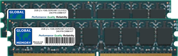 2GB (2 x 1GB) DDR2 667MHz PC2-5300 240-PIN ECC DIMM (UDIMM) MEMORY RAM KIT FOR SERVERS/WORKSTATIONS/MOTHERBOARDS