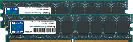 2GB (2 x 1GB) DDR2 800MHz PC2-6400 240-PIN ECC DIMM (UDIMM) MEMORY RAM KIT FOR SERVERS/WORKSTATIONS/MOTHERBOARDS
