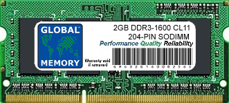 2GB DDR3 1600MHz PC3-12800 204-PIN SODIMM MEMORY RAM FOR SONY LAPTOPS/NOTEBOOKS
