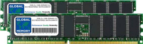 2GB (2 x 1GB) DDR 400MHz PC3200 184-PIN ECC REGISTERED DIMM (RDIMM) MEMORY RAM KIT FOR SERVERS/WORKSTATIONS/MOTHERBOARDS (CHIPKILL)