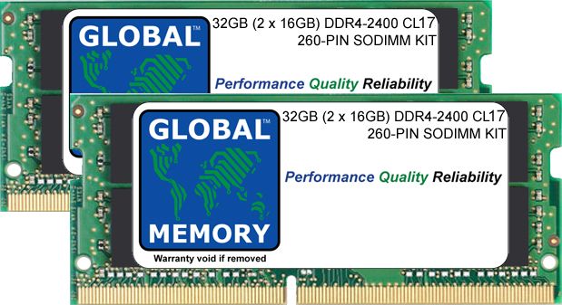 32GB (2 x 16GB) DDR4 2400MHz PC4-19200 260-PIN SODIMM MEMORY RAM KIT FOR LAPTOPS/NOTEBOOKS