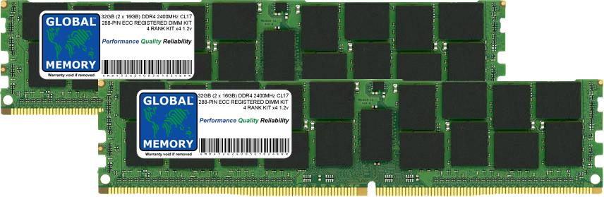 32GB (2 x 16GB) DDR4 2400MHz PC4-19200 288-PIN ECC REGISTERED DIMM (RDIMM) MEMORY RAM KIT FOR SERVERS/WORKSTATIONS/MOTHERBOARDS (4 RANK KIT CHIPKILL)