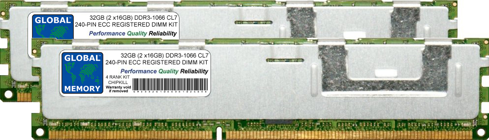 32GB (2 x 16GB) DDR3 1066MHz PC3-8500 240-PIN ECC REGISTERED DIMM (RDIMM) MEMORY RAM KIT FOR ACER SERVERS/WORKSTATIONS (4 RANK KIT CHIPKILL)