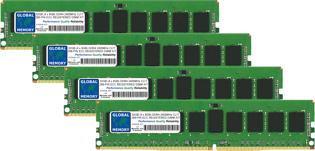 32GB (4 x 8GB) DDR4 2400MHz PC4-19200 288-PIN ECC REGISTERED DIMM (RDIMM) MEMORY RAM KIT FOR SERVERS/WORKSTATIONS/MOTHERBOARDS (4 RANK KIT CHIPKILL)