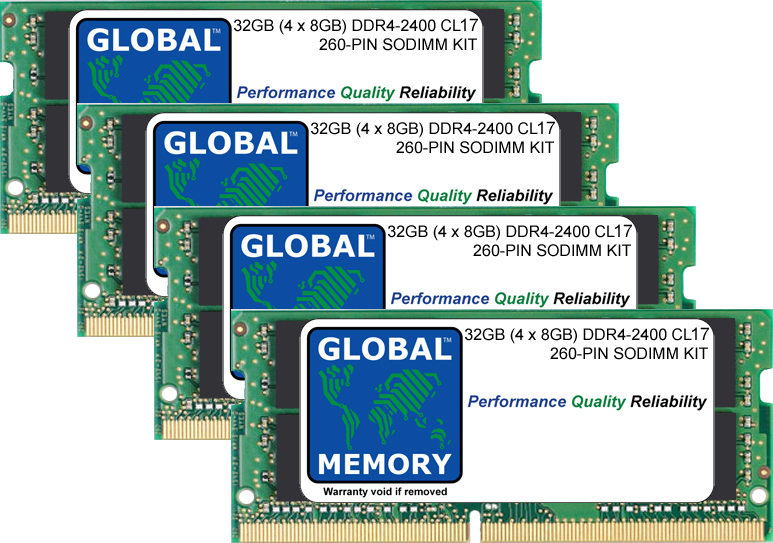 32GB (4 x 8GB) DDR4 2400MHz PC4-19200 260-PIN SODIMM MEMORY RAM KIT FOR LAPTOPS/NOTEBOOKS