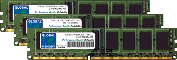 3GB (3 x 1GB) DDR3 1333MHz PC3-10600 240-PIN DIMM MEMORY RAM KIT FOR PC DESKTOPS/MOTHERBOARDS