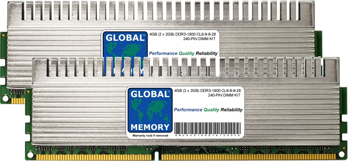 4GB (2 x 2GB) DDR3 1800MHz PC3-14400 240-PIN OVERCLOCK DIMM MEMORY RAM KIT FOR PC DESKTOPS/MOTHERBOARDS
