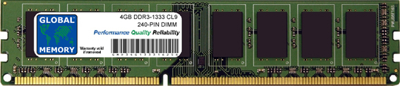 4GB DDR3 1333MHz PC3-10600 240-PIN DIMM MEMORY RAM FOR PC DESKTOPS/MOTHERBOARDS