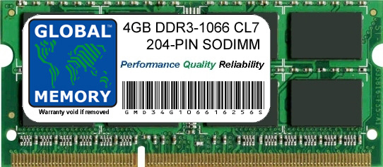 4GB DDR3 1066MHz PC3-8500 204-PIN SODIMM MEMORY RAM FOR LAPTOPS/NOTEBOOKS