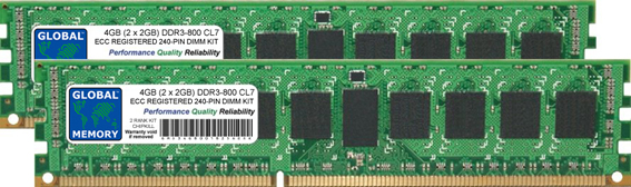 4GB (2 x 2GB) DDR3 800MHz PC3-6400 240-PIN ECC REGISTERED DIMM (RDIMM) MEMORY RAM KIT FOR SERVERS/WORKSTATIONS/MOTHERBOARDS (2 RANK KIT CHIPKILL)