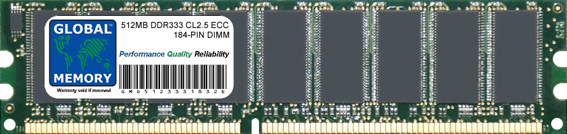512MB DDR 333MHz PC2700 184-PIN ECC DIMM (UDIMM) MEMORY RAM FOR SERVERS/WORKSTATIONS/MOTHERBOARDS