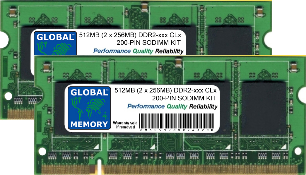 512MB (2 x 256MB) DDR2 400/533/667MHz 200-PIN SODIMM MEMORY RAM KIT FOR TOSHIBA LAPTOPS/NOTEBOOKS