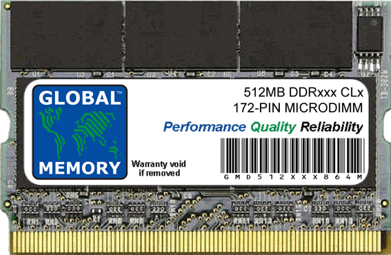 512MB DDR 266/333MHz 172-PIN MICRODIMM MEMORY RAM FOR LAPTOPS/NOTEBOOKS