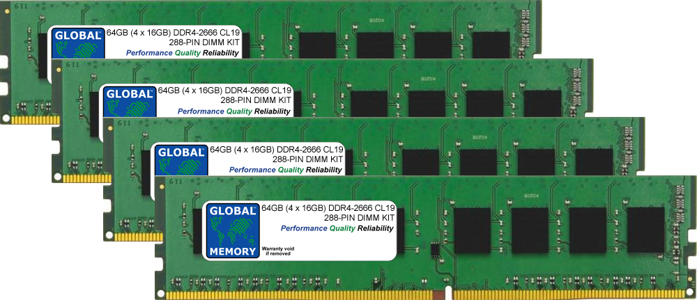 64GB (4 x 16GB) DDR4 2666MHz PC4-21300 288-PIN DIMM MEMORY RAM KIT FOR PC DESKTOPS/MOTHERBOARDS