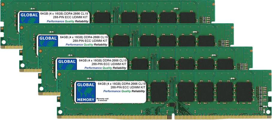 64GB (4 x 16GB) DDR4 2666MHz PC4-21300 288-PIN ECC DIMM (UDIMM) MEMORY RAM KIT FOR ACER SERVERS/WORKSTATIONS