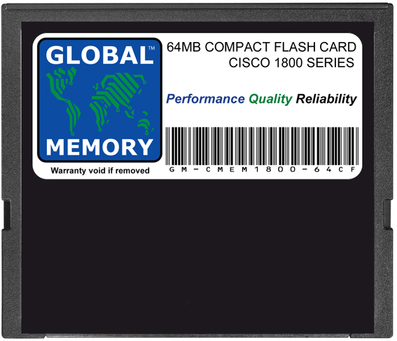 64MB COMPACT FLASH CARD MEMORY FOR CISCO 1800 SERIES ROUTERS (MEM1800-64CF)