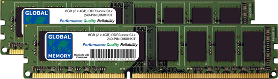 8GB (2 x 4GB) DDR3 1066/1333/1600/1866MHz 240-PIN DIMM MEMORY RAM KIT FOR PC DESKTOPS/MOTHERBOARDS
