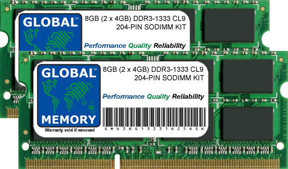 8GB (2 x 4GB) DDR3 1333MHz PC3-10600 204-PIN SODIMM MEMORY RAM KIT FOR INTEL IMAC (MID 2010 - MID 2011 - LATE 2011)