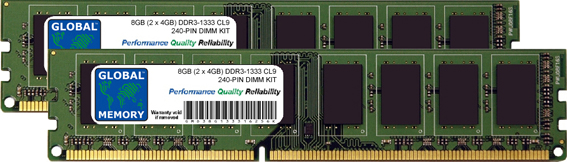 8GB (2 x 4GB) DDR3 1333MHz PC3-10600 240-PIN DIMM MEMORY RAM KIT FOR PC DESKTOPS/MOTHERBOARDS