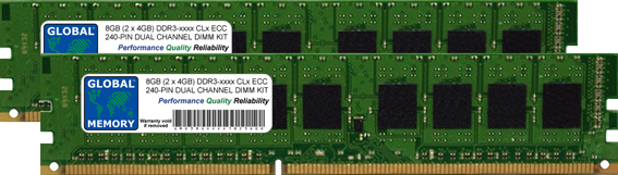 8GB (2 x 4GB) DDR3 800/1066/1333/1600/1866MHz 240-PIN ECC DIMM (UDIMM) MEMORY RAM KIT FOR SERVERS/WORKSTATIONS/MOTHERBOARDS