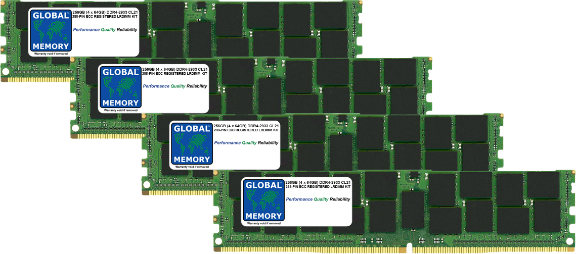 256GB (4 x 64GB) DDR4 2933MHz PC4-23400 288-PIN LOAD REDUCED ECC REGISTERED DIMM (LRDIMM) MEMORY RAM KIT FOR SERVERS/WORKSTATIONS/MOTHERBOARDS (16 RANK KIT CHIPKILL)