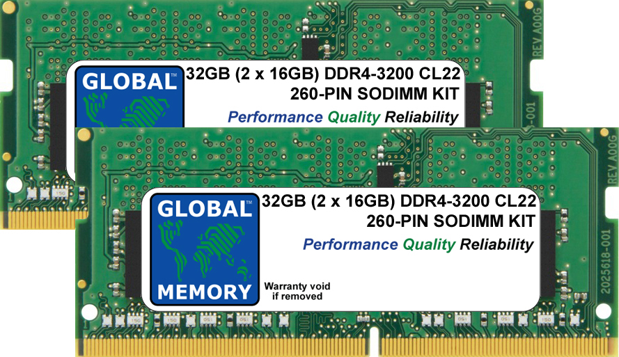 32GB (2 x 16GB) DDR4 3200MHz PC4-25600 260-PIN SODIMM MEMORY RAM KIT FOR LAPTOPS/NOTEBOOKS