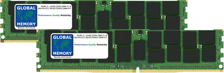 64GB (2 x 32GB) DDR4 2666MHz PC4-21300 288-PIN ECC REGISTERED DIMM (RDIMM) MEMORY RAM KIT FOR ACER SERVERS/WORKSTATIONS (8 RANK KIT CHIPKILL)