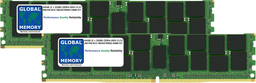 64GB (2 x 32GB) DDR4 2933MHz PC4-23400 288-PIN ECC REGISTERED DIMM (RDIMM) MEMORY RAM KIT FOR SERVERS/WORKSTATIONS/MOTHERBOARDS (8 RANK KIT CHIPKILL)